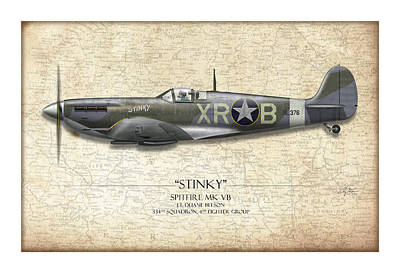 Raf Painting - Stinky Duane Beeson Spitfire - Map Background by Craig Tinder