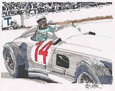 Stirling Moss Drawing - Stirlig Moss Mercedes Benz Grand Prix Of Belgium by Paul Guyer