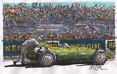 Stirling Moss Drawing - Stirling Moss Brm French Grand Prix by Paul Guyer