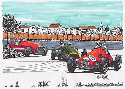 Stirling Moss Drawing - Stirling Moss Ferrari Grand Prix Of Italy by Paul Guyer