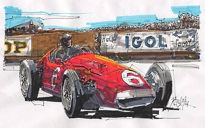 Stirling Moss Drawing - Stirling Moss Maserati French Grand Prix by Paul Guyer