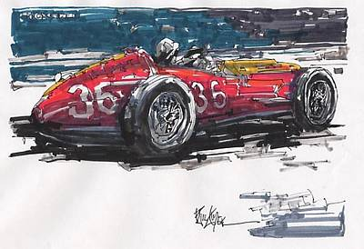 Stirling Moss Drawing - Stirling Moss Maserati Grand Prix Of Italy by Paul Guyer