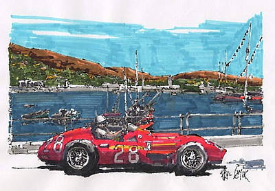 Stirling Moss Drawing - Stirling Moss Maserati Grand Prix Of Monaco by Paul Guyer