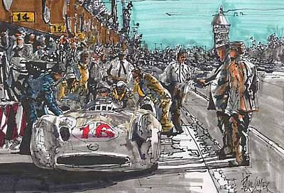 Stirling Moss Drawing - Stirling Moss Mercedes Benz Italian Grand Prix by Paul Guyer