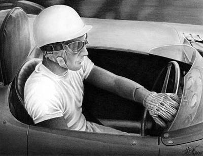 Stirling Moss Drawing - Stirling Performance by Lyle Brown