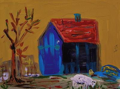 Red Roof Drawing - Stirring Barn Colors by Mary Carol Williams