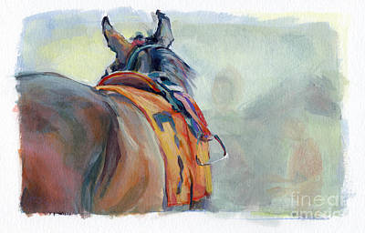 Bay Thoroughbred Horse Painting - Stirrup by Kimberly Santini