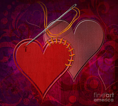 Warm Digital Art - Stitched Hearts by Peter Awax