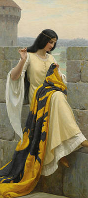 Stitching Painting - Stitching The Standard by Edmund Blair Leighton