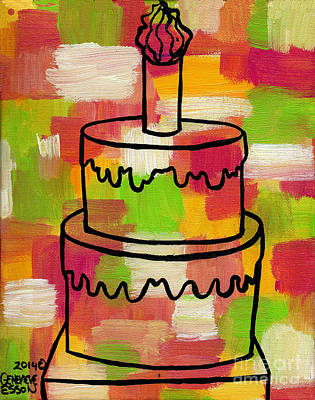 Painting - Stl250 Birthday Cake Pink And Green Abstract 2 by Genevieve Esson