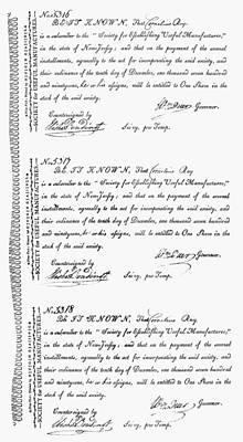 Stock Certificates, 1791 Art Print by Granger