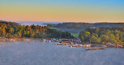 Photograph - Stockholm Archipelago Harbor At Dawn Panorama Sweden by Marianne Campolongo