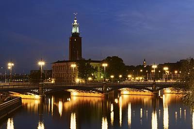 Photograph - Stockholm City Hall At Night - Stockholm - Sweden by Photography  By Sai