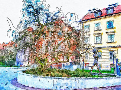 Urban Nature Study Digital Art - Stockholm Galma Stan Old Town by Yury Malkov