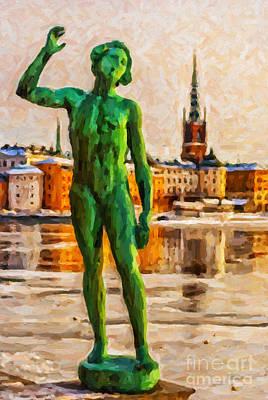 Snow Scene Painting - Stockholm Statue Digital Painting by Antony McAulay
