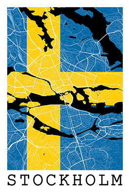 Flag Digital Art - Stockholm Street Map - Stockholm Sweden Road Map Art On Flag by Jurq Studio