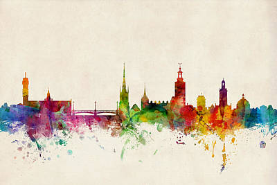 Watercolour Digital Art - Stockholm Sweden Skyline Sverige by Michael Tompsett
