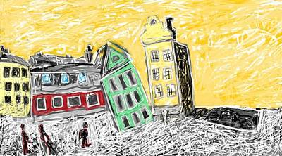 Stockholm Digital Art - Stockholm Town Square At Sunset by Bobby Nelson