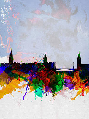 Stockholm Painting - Stockholm Watercolor Skyline by Naxart Studio