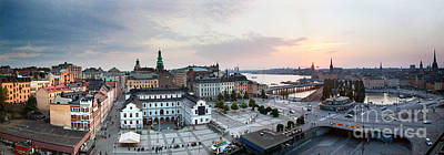 Town Photograph - Stockholm Wide Panorama At Sunset by Michal Bednarek