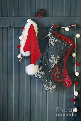 Stockings Hanging On Hooks For The Holidays Art Print by Sandra Cunningham