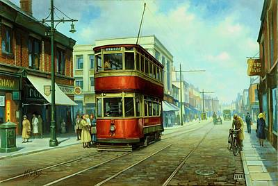 Streetscenes Painting - Stockport Tram. by Mike  Jeffries