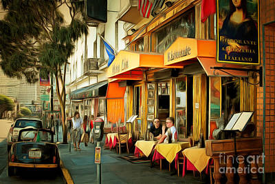 Mona Digital Art - North Beach Street Scene Outdoor Dining San Francisco 7d7451brun by Wingsdomain Art and Photography