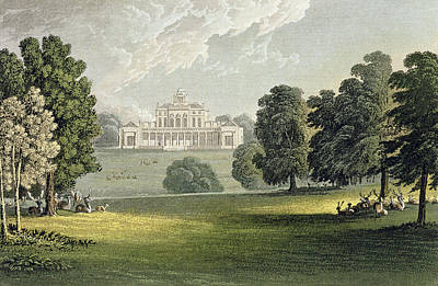 Portico Wall Art - Painting - Stoke Park, From Ackermanns Repository by John Gendall