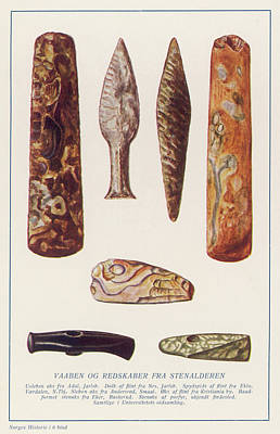 Stone Age Artifacts From Norway - Tools Art Print by Mary Evans Picture Library