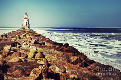 Photograph - Stone And Ice At Wisconsin Point by Mark David Zahn Photography