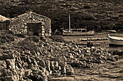 Photograph - Roman Port Of Sa Nitja In Minorca - Stone And Sea Sephia Version by Pedro Cardona