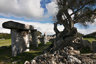 Photograph - Talayotic Culture In Minorca Island - Stone And Wood Under A Blue Sky by Pedro Cardona Llambias