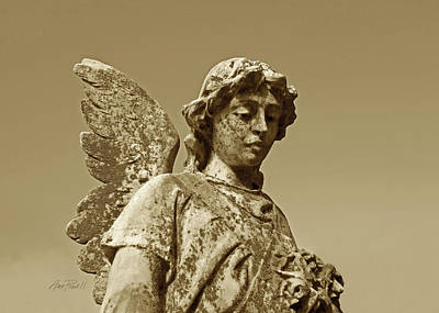 Photograph - Stone Angel In Sepia - Photograph  by Ann Powell