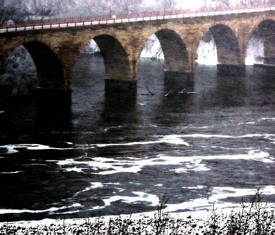 Photograph - Stone Arch Bridge In Winter by A K Dayton