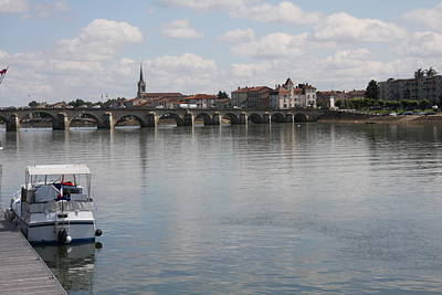 Saone River Photograph - Stone Arch Bridge - Macon by Christiane Schulze Art And Photography