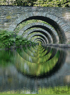 Stone Arch Bridge Over Troubled Waters - 1st Place Winner Faa Optical Illusions 2-26-2012 Art Print by EricaMaxine  Price