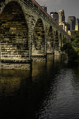 Stone Arch Bridge With Minneapolis Skyline Art Print
