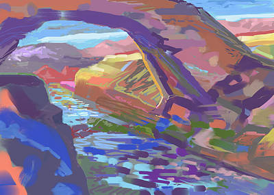 Running Digital Art - Stone Arch by Howard Ganz