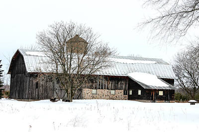 Nikki Vig Royalty-Free and Rights-Managed Images - Stone Barn In Winter by Nikki Vig