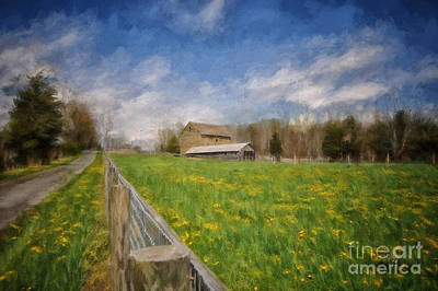 Painterly Photograph - Stone Barn On A Spring Morning by Lois Bryan