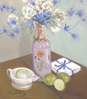 Painting - Stone Bottle And Limes by Susan Caulton