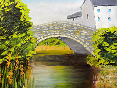 Stone Bridge At Burrowford Uk Art Print