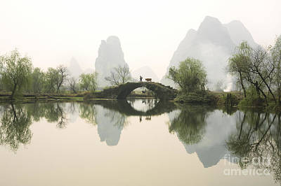 Bridge Photograph - Stone Bridge In Guangxi Province China by King Wu
