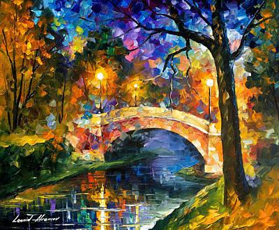 Free Painting - Stone Bridge - Palette Knife Oil Painting On Canvas By Leonid Afremov by Leonid Afremov