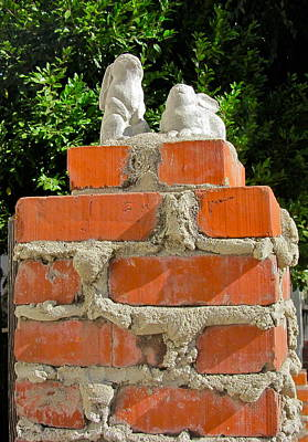Photograph - Stone Bunny Brick Post by Denise Mazzocco