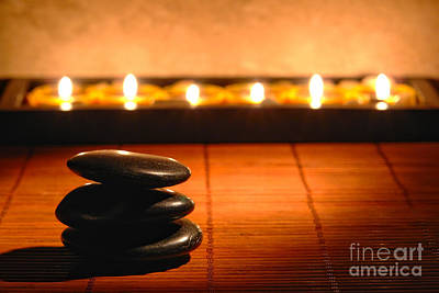 Art Print featuring the photograph Stone Cairn And Candles For Quiet Meditation by Olivier Le Queinec