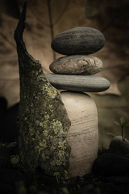 Mystic Setting Photograph - Stone Cairns IIi by Marco Oliveira