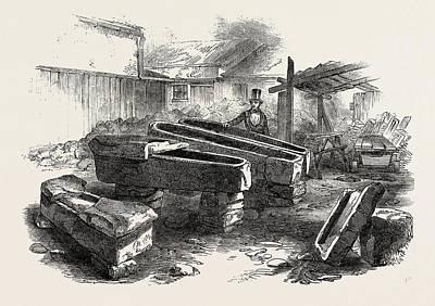 Found Art Drawing - Stone Coffins Found At Bath 1854 by English School
