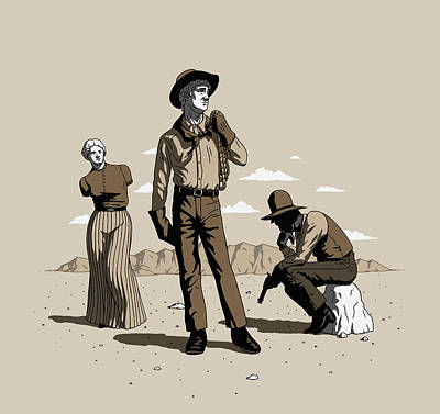 Art Print featuring the digital art Stone-cold Western by Ben Hartnett