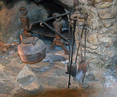 Photograph - Stone Fireplace With Copper Kettle by Amelia Painter